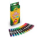 Crayola Oil Pastels Neon 12 count package and crayons