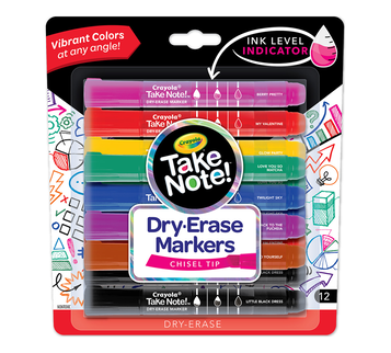 Take Note Colored Dry Erase Markers, 12 Count Front View