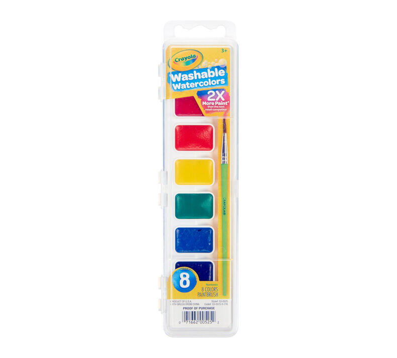 Washable Watercolor Paints, 8 Count