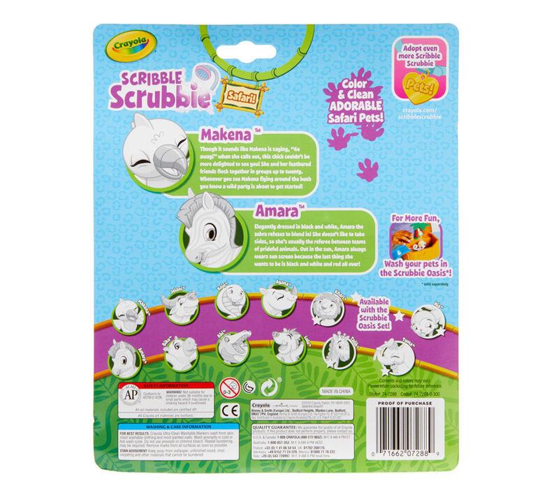 Scribble Scrubbie Safari Animals, Bird & Zebra, 2 Count