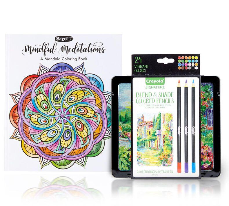 Mandala Coloring Book with Signature Colored Pencils