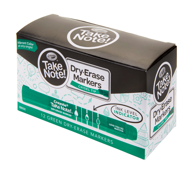 Take Note Green Dry Erase Markers, 12 Count