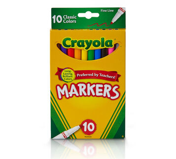 Crayola Fine Line Markers 10 count Classic Colors Front