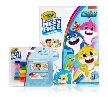 Color Wonder Baby Shark Coloring Pages and Markers Set. Color Wonder Baby Shark's Big Show Foldalope and Color Wonder 10 count Classic Markers