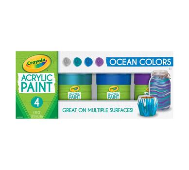 Multi-Surface Acrylic Paint, Ocean Colors, 4 Count