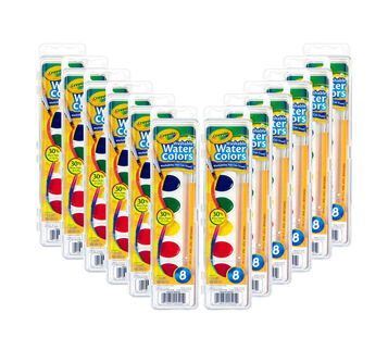 Washable Watercolors, 12 Count, 8 Colors Front View