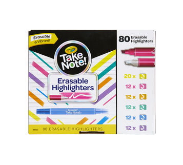 Take Note Erasable Highlighters Classpack, 80 Count Front View