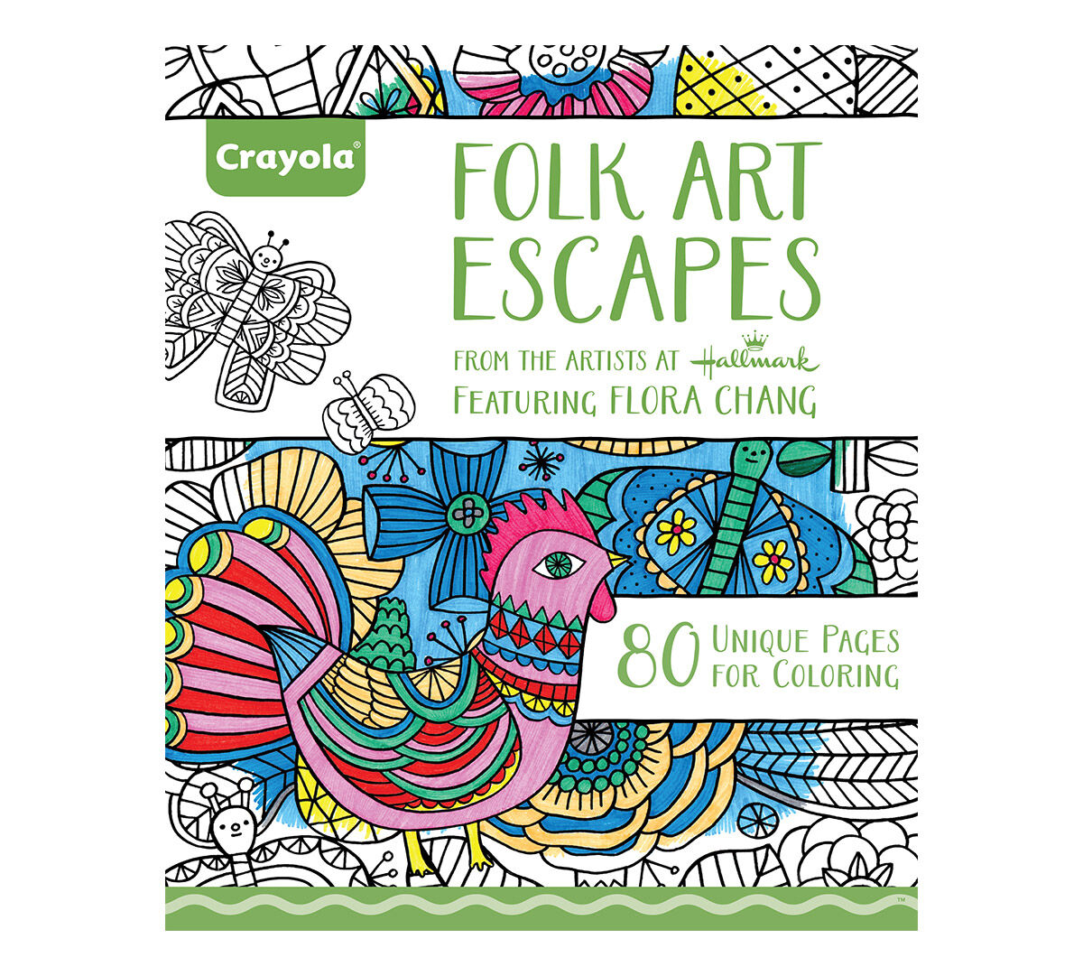 Crayola folk art Escapes, Adult Coloring Book, Relaxing Art Activity ...