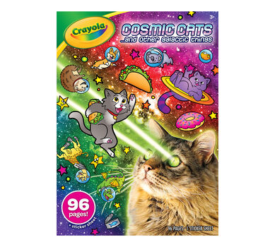 Crayola Cosmic Cats Coloring Book, Sticker Sheet, Gift for Kids, 96 ...