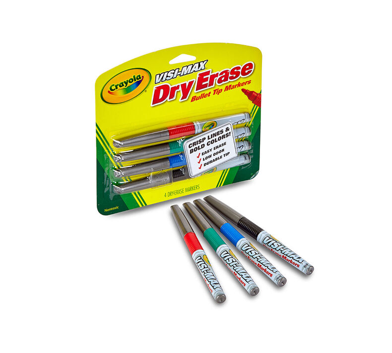 Visi-Max Dry-Erase Markers, Fine Line, 4 ct.