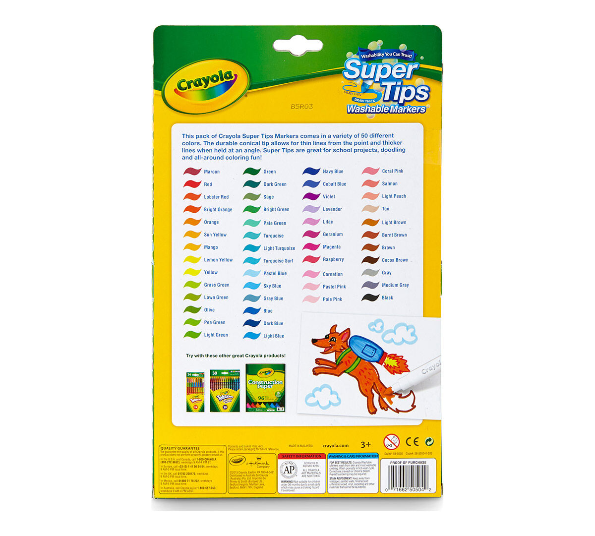 Washable Super Tips Markers 50 Count Crayola