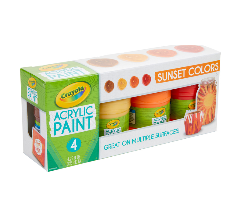 Multi-Surface Acrylic Paint, Sunset Colors, 4 Count