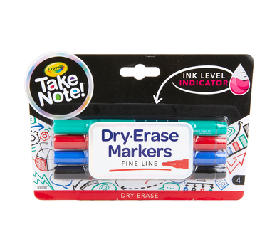 Low Odor Dry Erase Markers, Fine Tip, 4 Count
