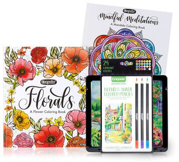 Mandala & Florals Coloring Books with Signature Colored Pencils