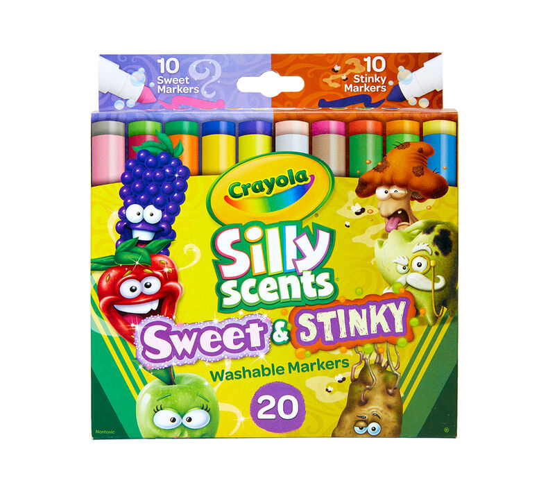 Silly Scents Sweet & Stinky Scented Markers, 20 Count