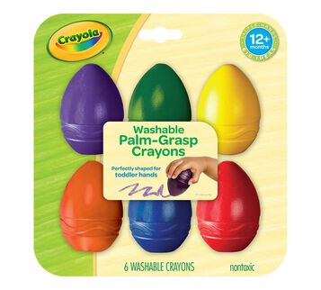 My First Crayola Washable Palm Grasp Crayons, 6 Count