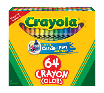 Crayola Crayons, 64 Count Front View of Box