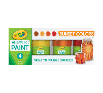 Multi-Surface Acrylic Paint Sunset Colors, 4 Count