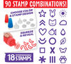 Washable Paint Stampers include 18 interchangeable stamps