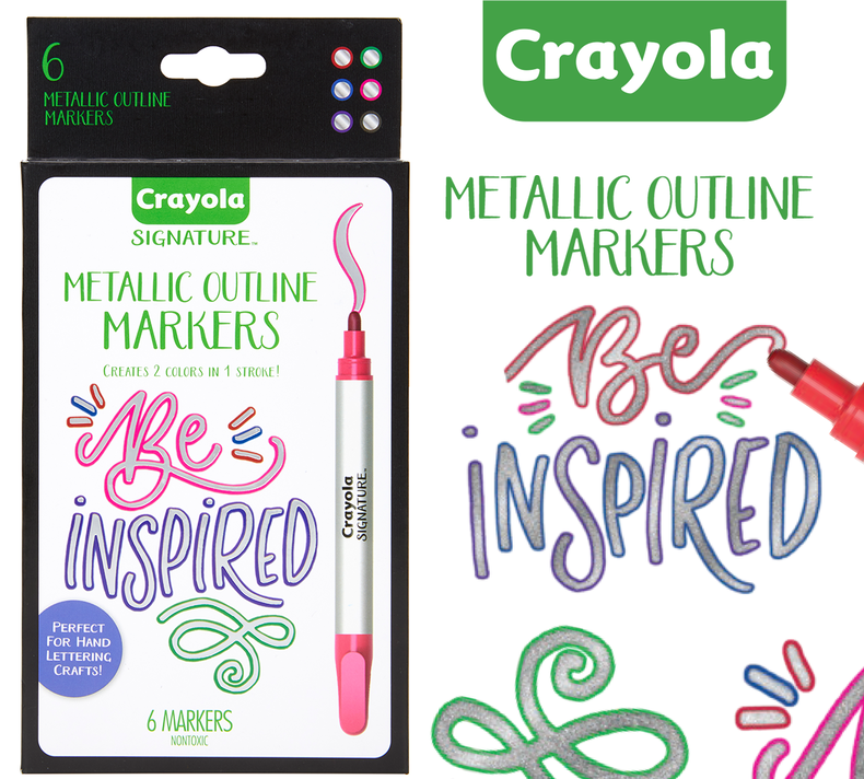 Art Supplies 6 Count Crayola Metallic Permanent Markers Fine Point Assorted Colors