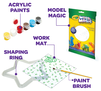 Kit includes acrylic paints, model magic, shaping ring, work mat, and paint brush
