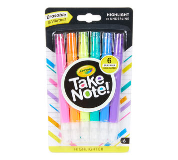 Take Note Eraseable Highlighters 6 count front view
