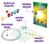 Kit Includes acrylic paints, model magic, work mat, shaping ring, and paint brush