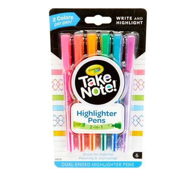 Take Note Dual Tip Highlighter Pens, 6 Count