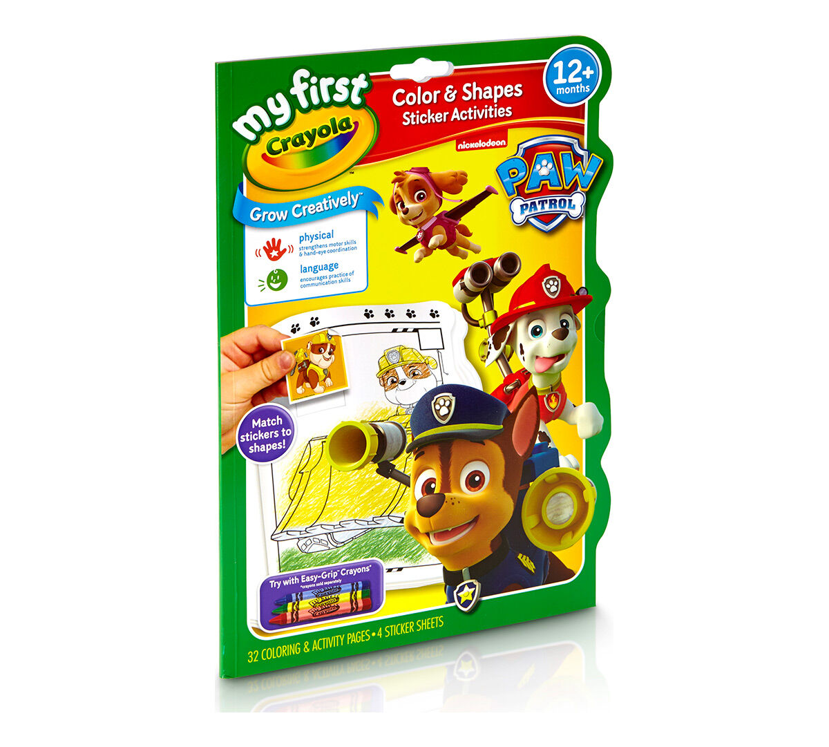 my first crayola color shapes sticker activities paw patrol crayola