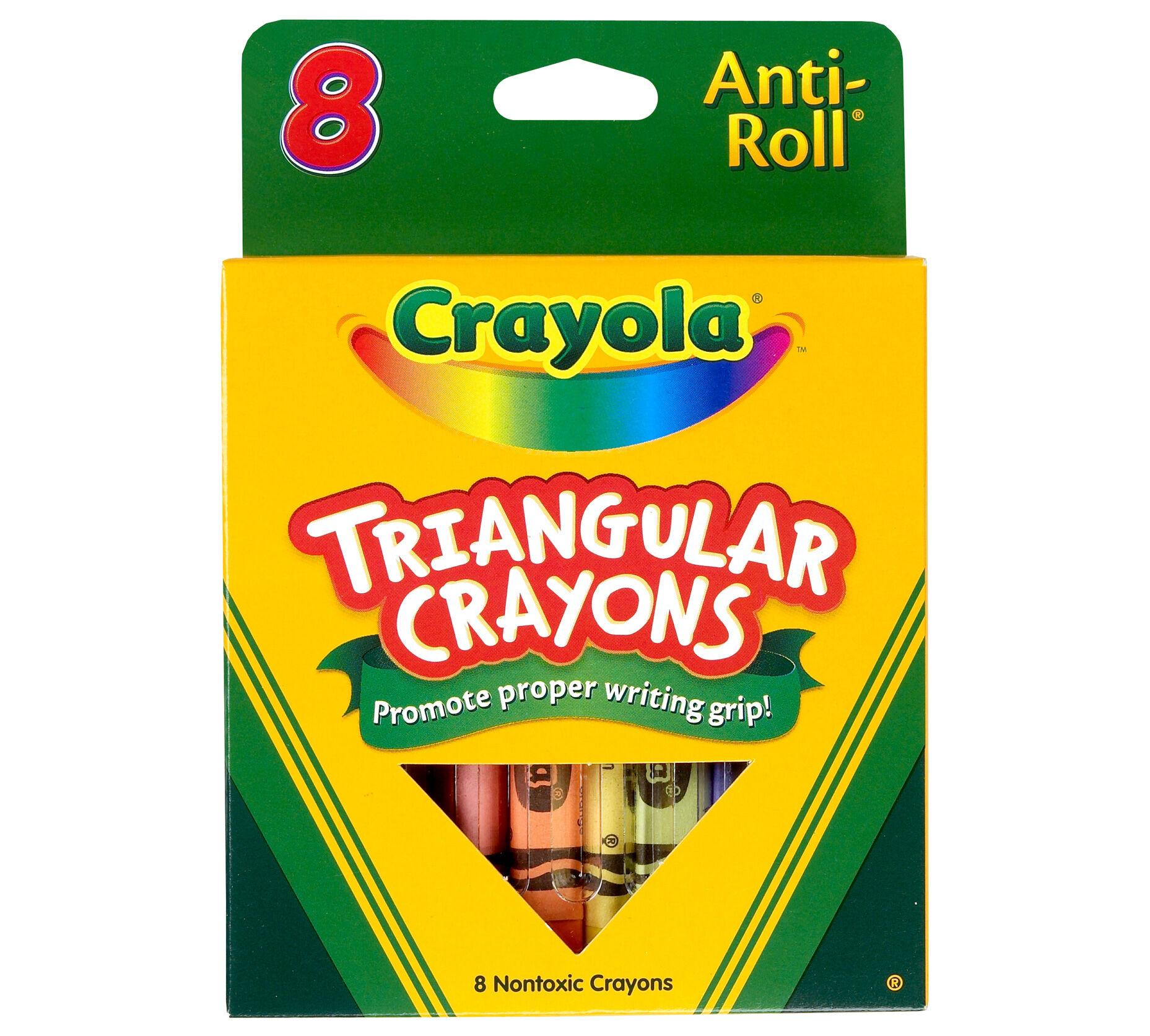 Crayola Anti-Roll Triangular Crayons Assorted Colors 8 ea