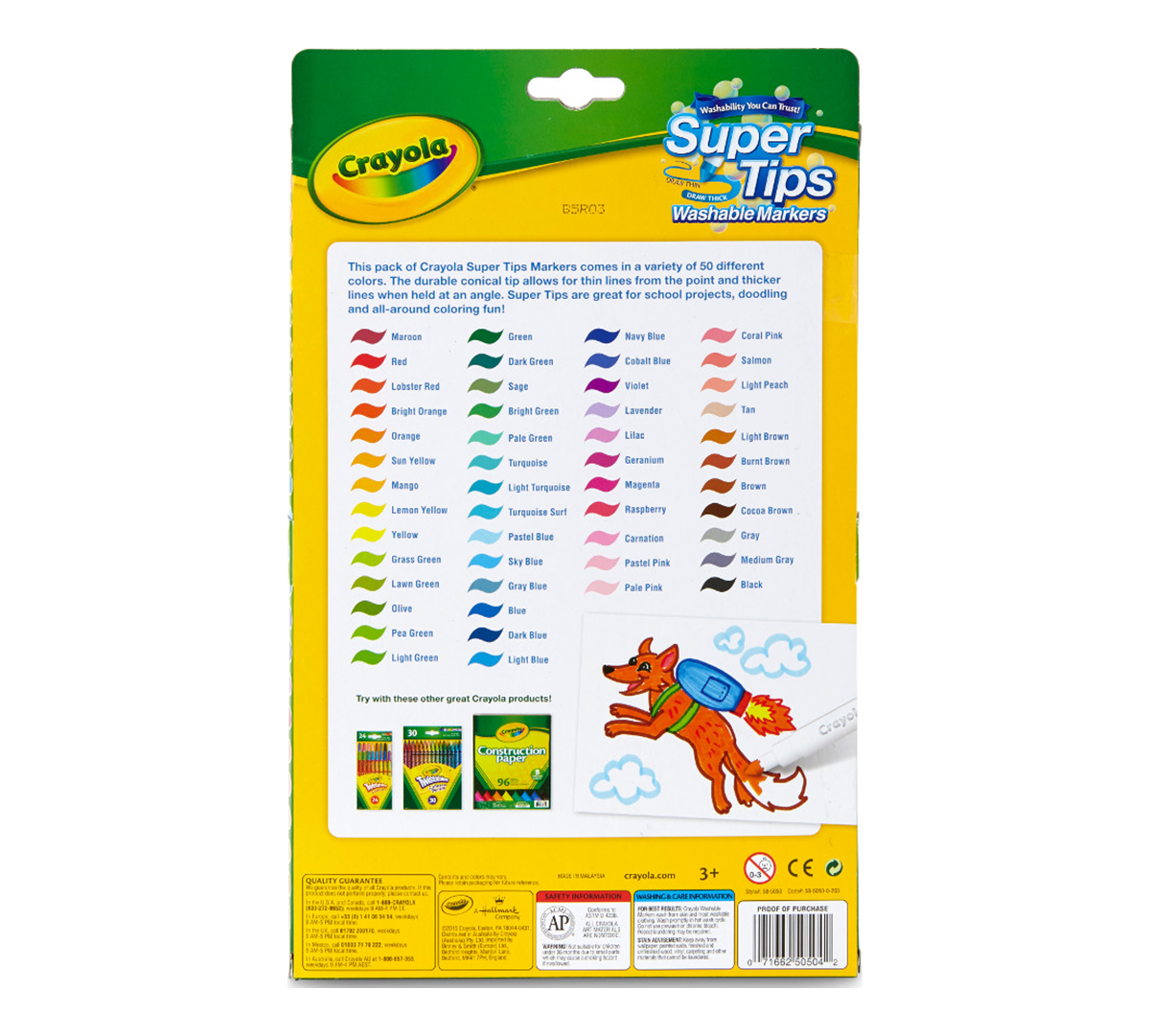 50ct Washable Super Tips Markers 50 Color Variety Pack of 6