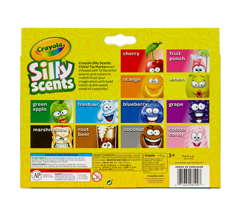 Silly Scents Chisel Tip Markers, Sweet Scents, 12 Count