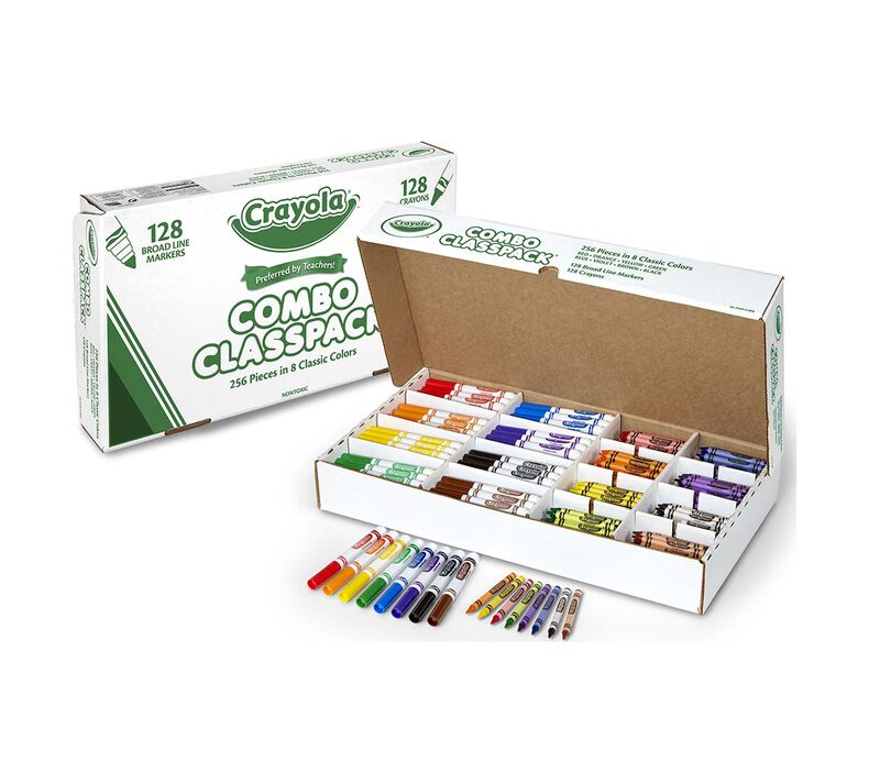 Markers & Crayons Classpack, 256 Count, 8 Colors