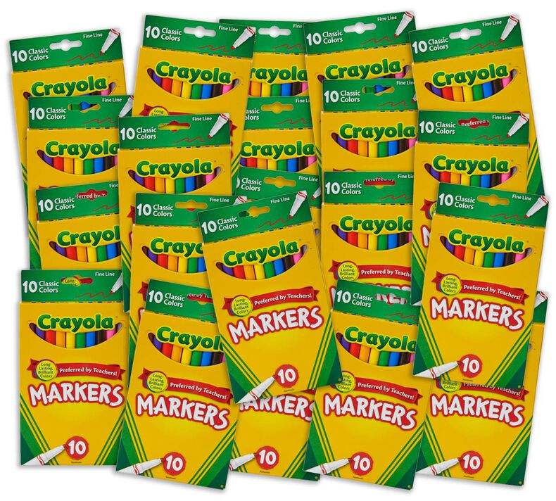 Marker Classpack, 20 Individual Boxes of 10 Count Classic Fine Line Markers