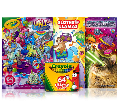 3 Animal Coloring Books with 64 Count Crayons