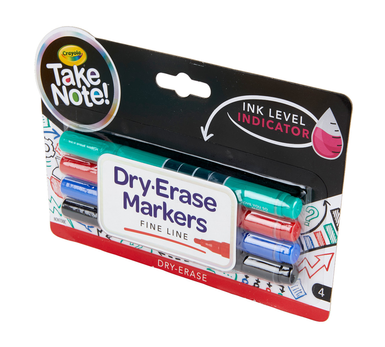 Take Note Low Odor Dry Erase Markers, Fine Tip, 4 Count