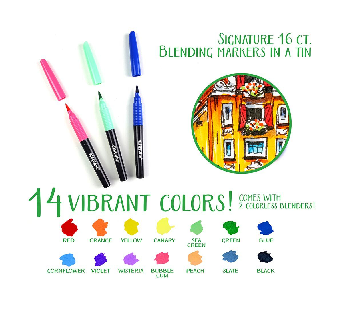 crayola signature blending markers 14 color markers and 2 blending
