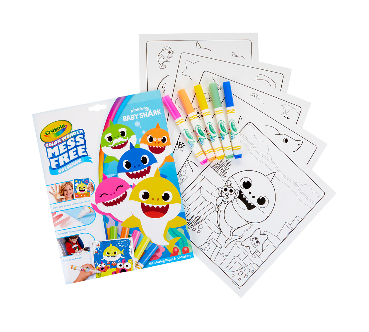 Crayola color wonder baby shark coloring pages mess free coloring crayola com crayola