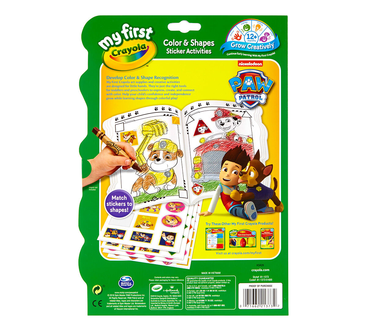 My First Crayola Color & Shapes Sticker Activities Paw Patrol - Crayola