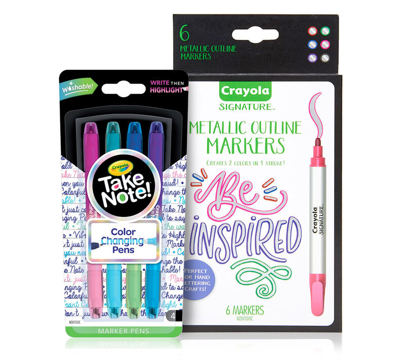 Signature Metallic Outline Paint Markers & Take Note Color Changing Pens