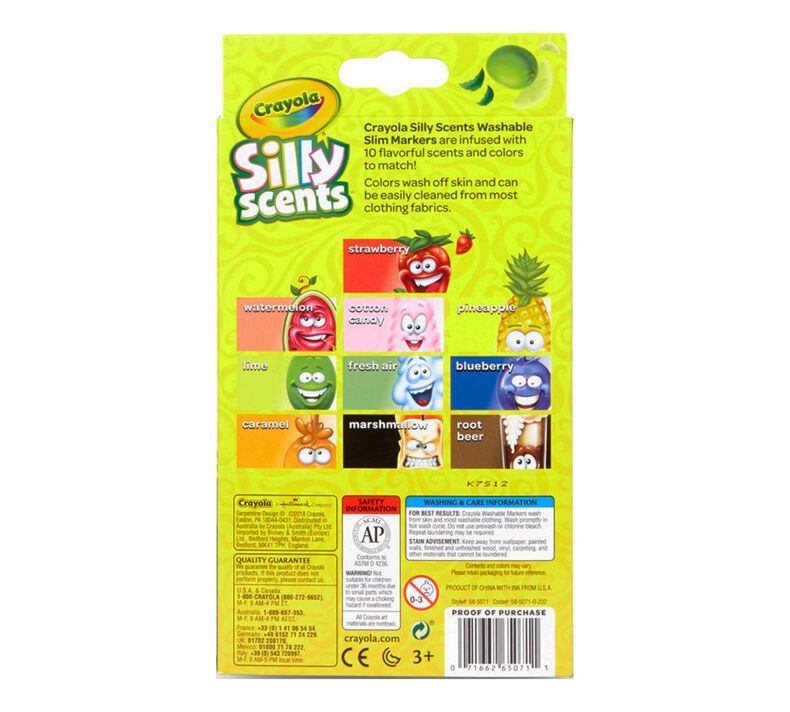 Silly Scents Fine Line Markers, Sweet Scents, 10 Count