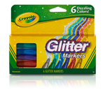 Glitter Markers, 6 Count Front View