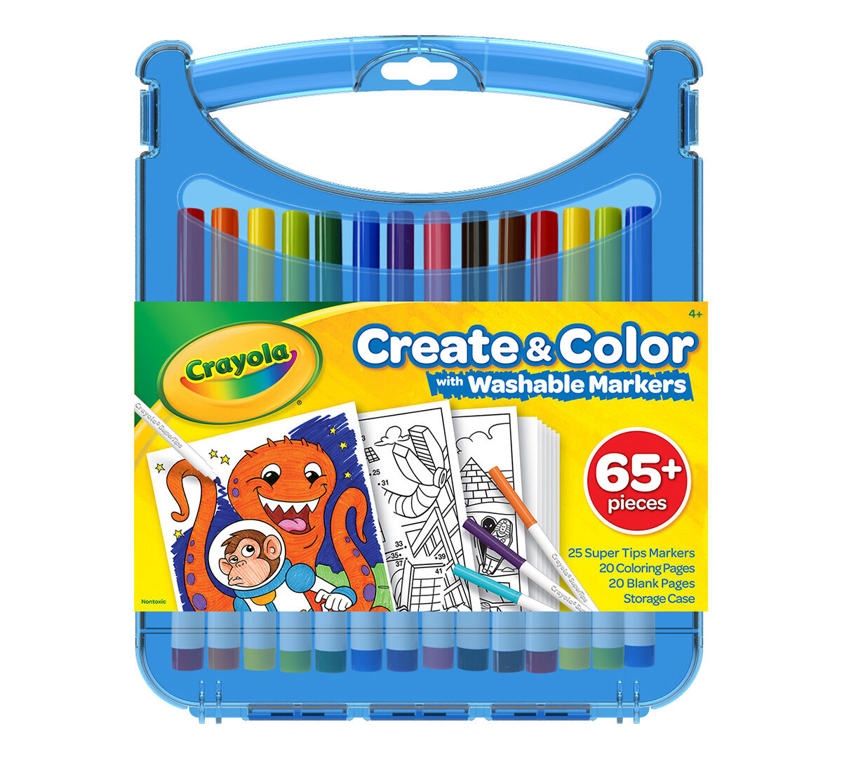 Crayola Create Color Super Tips Marker Kit 25 Super Tips Markers 40 Drawing And Activity Sheets Plastic Storage Case Crayola