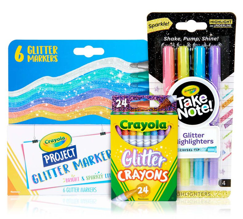 3-in-1 Glitter Coloring & Highlighting Supply Set