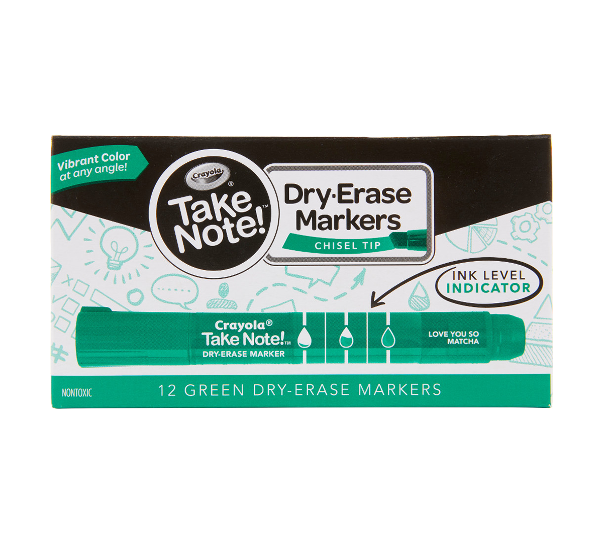 Crayola Take Note Dry Erase Markers Office //School Green Chisel Tip Markers
