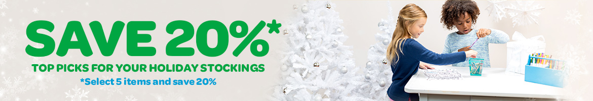 save 20 percent off top picks for your holiday stockings. select 5 items and save 20%