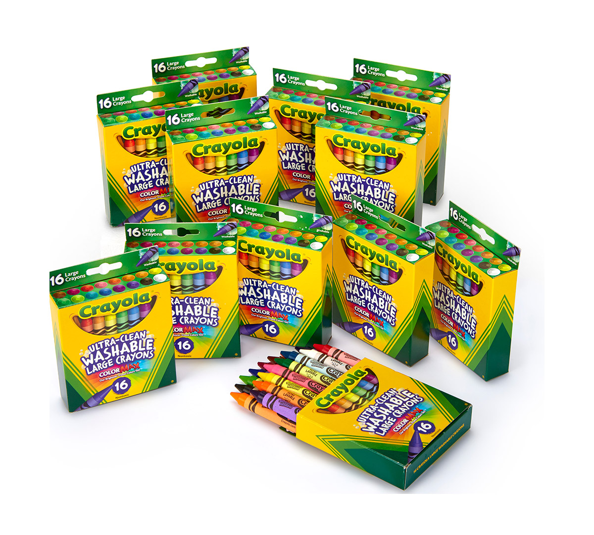 Crayola Ultra-Clean Washable Large Crayons, Bulk Set, 12 Packs of 16 Count