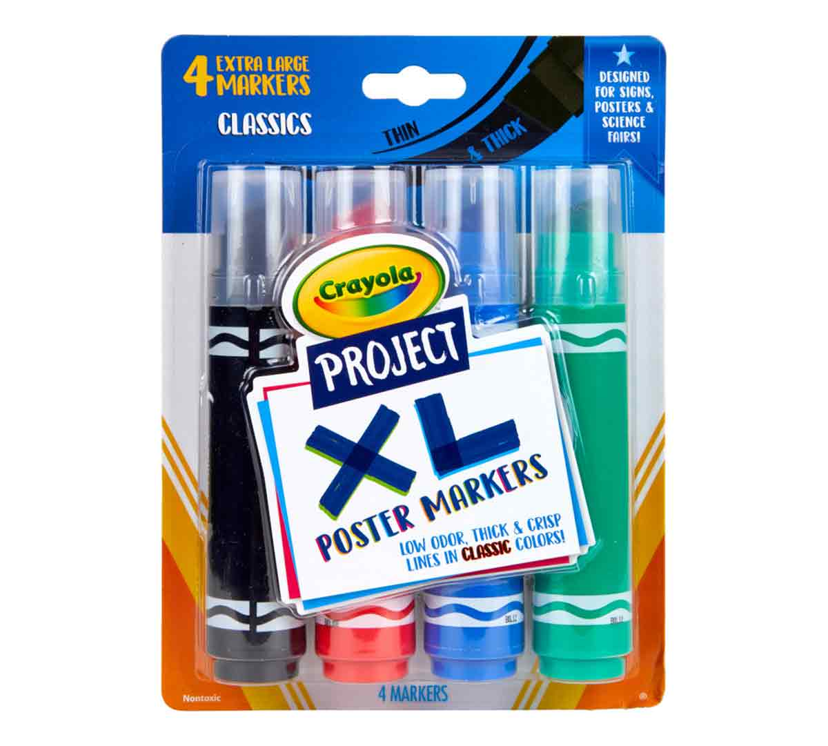 Holiday Toys Gifting Arts and Crafts Stocking Bright Colours Kids Crayola 560482 Project XL Poster Markers Gift for Boys and Girls