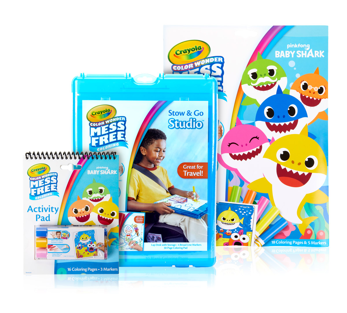 Color Wonder Baby Shark Coloring Travel Gift Set | Crayola.com | Crayola
