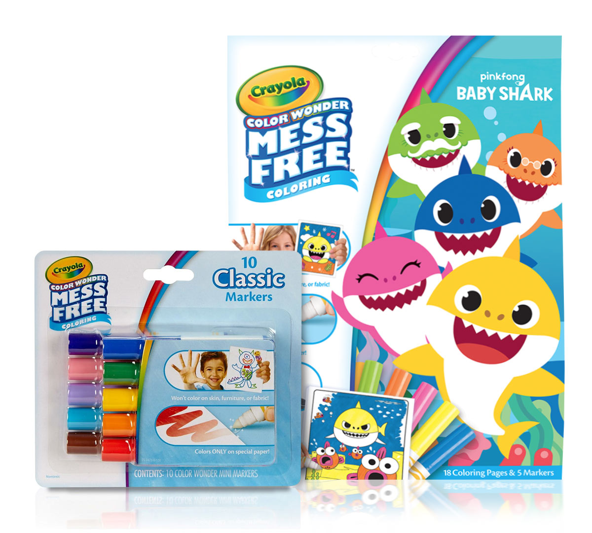 Color Wonder Baby Shark Coloring Pages and Markers Set ...